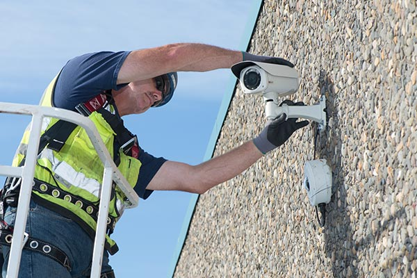 Life Safety Tech working on Security Camera image